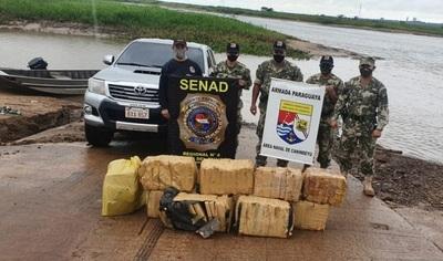 Decomisan casi 200 kilos de marihuana en zona rivereña de Salto del Guairá