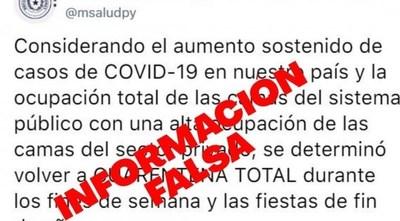 Ministerio de Salud desmiente 'fake news' sobre supuesta vuelta a cuarentena total