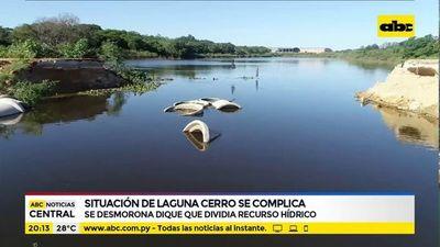Se desmorona dique que dividía Laguna Cerro