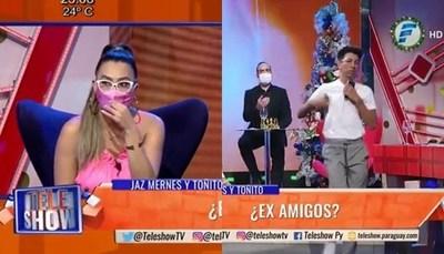 """Toñito se hartó de Jazmín y se retiró de """"TeleShow"""""""