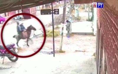 """(Video) ¿La """"moda"""" que no tardara en  llegar? Asaltan mercadomontados a caballo"""
