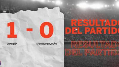 Con lo justo, Guaireña venció a Sportivo Luqueño 1 a 0 en el estadio Parque del Guairá