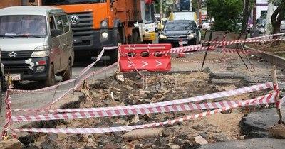 La Nación / Bloquean calles por hundimiento de asfalto y árboles caídos