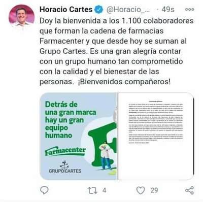 CARTES COMPRÓ LA CADENA FARMACENTER