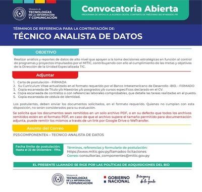 Convocatoria abierta para la contratación de un técnico analista de datos