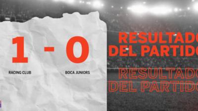 En su casa Racing Club derrotó a Boca Juniors 1 a 0