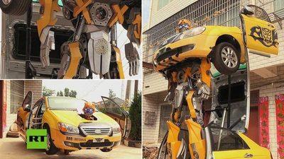 Convirtió autos viejos en asombrosos Transformers (con video)