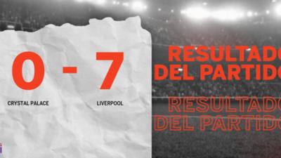 Doblete de Roberto Firmino en la goleada de Liverpool frente a Crystal Palace
