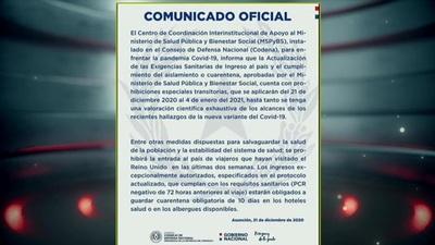 COVID-19: Paraguay restringe vuelos del Reino Unido