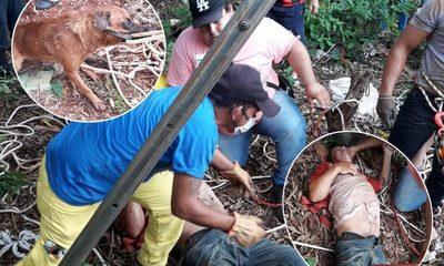 Bomberos rescatan con vida a un hombre y su perro que cayeron a pozo con agua – Diario TNPRESS