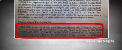 """""""Transa antinacional"""": Documento contempla US$ 3 millones """"para abogado"""""""