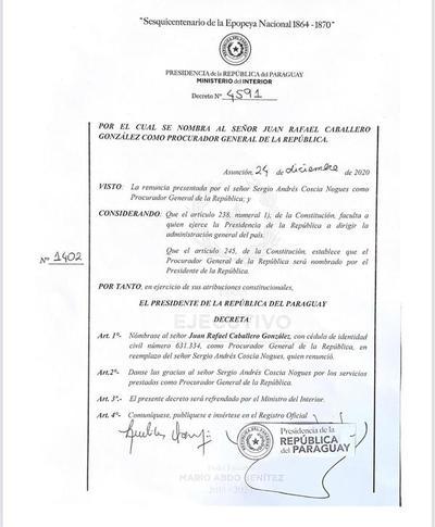 Nombran a Juan Caballero como nuevo Procurador General de la República