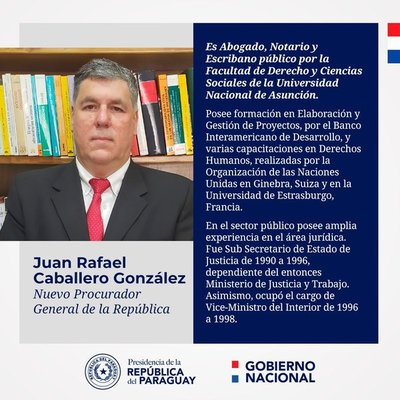 Ejecutivo nombra a Juan Rafael Caballero como nuevo procurador