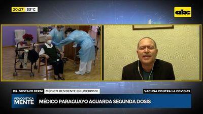 Médico paraguayo en Reino Unido aguarda la segunda dosis de la vacuna