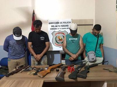 Cuatro detenidos con un lote de armas de fuego en Santa Rita