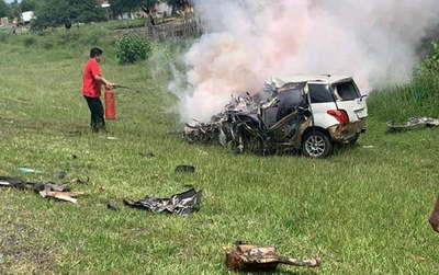 Choque, incendio y muerte de un conductor sobre ruta