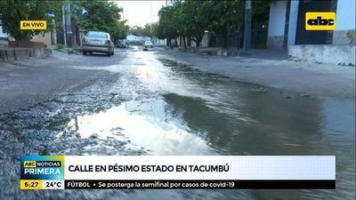 Calle en pésimo estado en el barrio Tacumbú