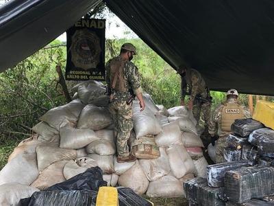 Senad incauta 8,6 toneladas de marihuana en Yby Pytã, Canindeyú