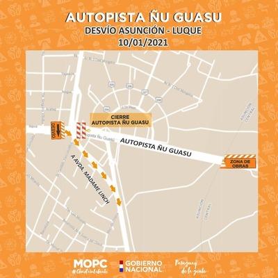 Autopista Ñu Guasu permanecerá cerrada temporalmente este domingo por obras