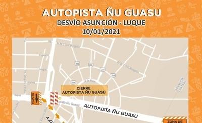 HOY / Cerrarán temporalmente ambos sentidos de la Autopista Ñu Guasú