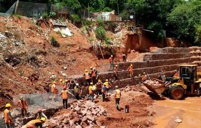 Avanzan las obras del muro de contención en la Chacarita
