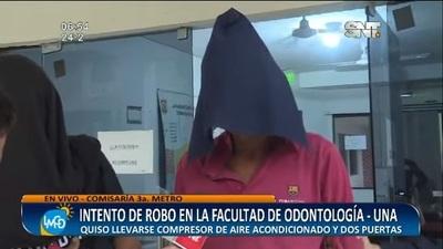 Detienen a un hombre tratando de robar compresor en facultad