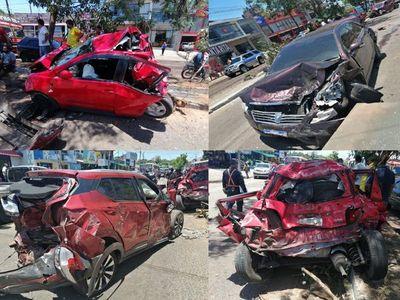 Camión pierde el control y embiste a varios vehículos en Asunción
