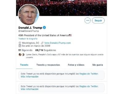 Las acciones de Twitter cayeron un 5% después de que la red social prohibiera permanentemente la cuenta de Donald Trump