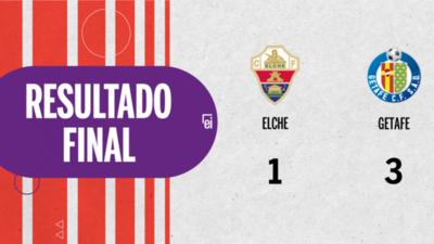 Getafe goleó a Elche en su casa por 3 a 1