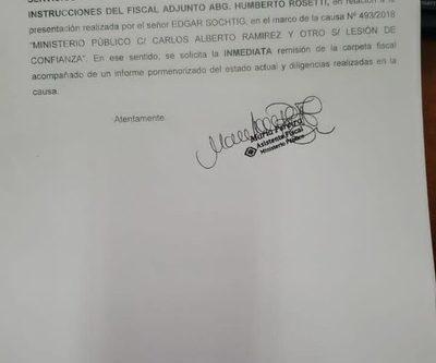 Fiscal Adjunto pide carpeta que investiga a intendente de San Alberto