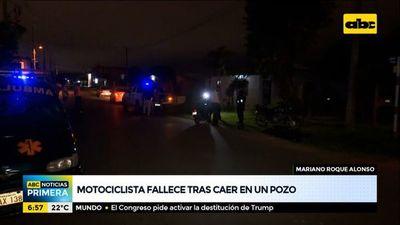 Motociclista fallece tras caer a un pozo en Mariano Roque Alonso