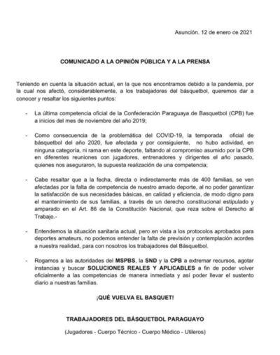 Basquetbolistas piden el retorno de las competencias