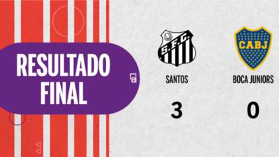Santos apabulló a Boca Juniors con un categórico 3 a 0