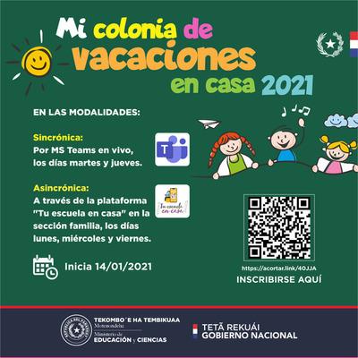 MEC inicia colonia de vacaciones a distancia para niños, adolescentes y jóvenes