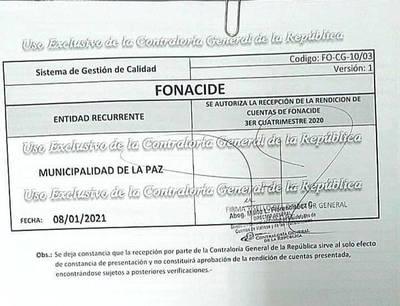 MUNICIPALIDAD DE LA PAZ AL DÍA CON RENDICIÓN ANTE LA CONTRALORÍA.