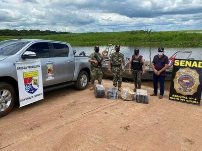 Incautan carga de marihuana a orillas del río Paraná