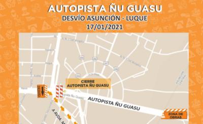 HOY / Mañana volverán a clausurar la Autopista Ñu Guasú por obras