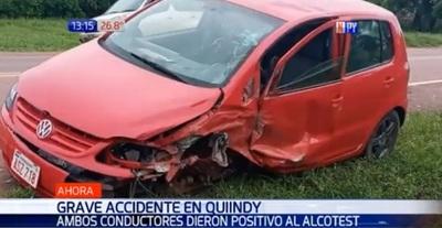 Dos conductores en estado etílico chocan en Quiindy