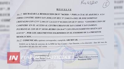 JUNTA RECHAZA SIN ARGUMENTOS ADJUDICACIÓN DE OBRAS EN SAN COSME