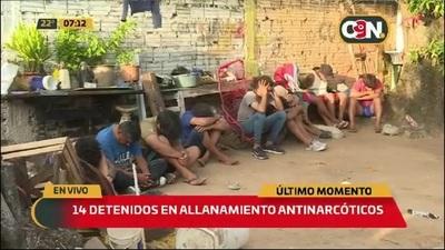 Allanamiento antinarcóticos: Catorce detenidos