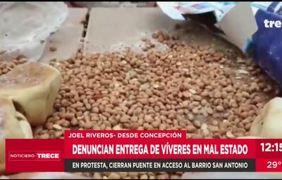 Reclamos en Concepción por kits de alimentos en mal estado