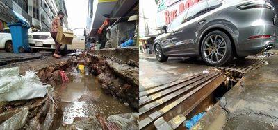 Microcentro esteño, destrozado y abandonado, tras lluvias y raudales