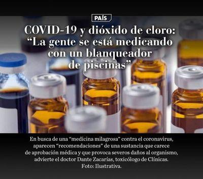 """COVID-19 y dióxido de cloro: """"La gente se está medicando con un blanqueador de piscinas"""""""