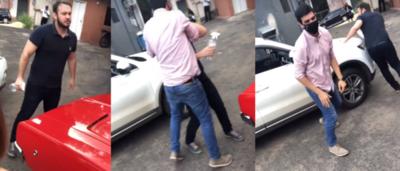 """Crónica / (VIDEO) Mirá como Chiche y Edwin se """"pelearon"""" en el estacionamiento del canal"""