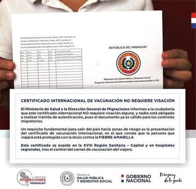 El cetificado internacional de vacunación es obligatorio para viajar – Prensa 5