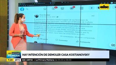 Hay intención de demoler la casa Kostianovsky