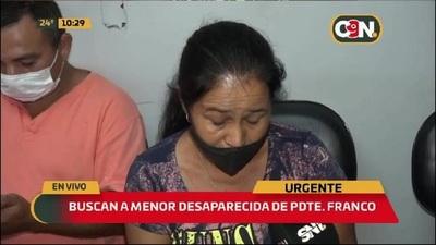 Pdte Franco: Buscan a menor desaparecida
