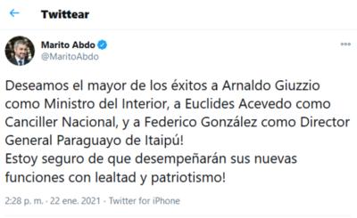 Acevedo será canciller y Federico González asumirá la dirección de Itaipu