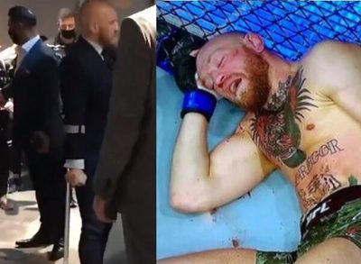 Conor McGregor se retira en muletas tras humillante derrota