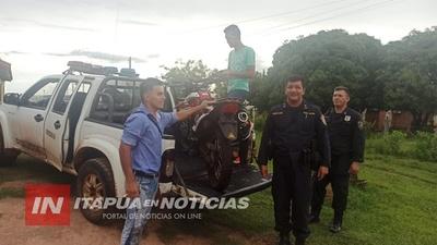 POLICÍAS DE SAN PEDRO DEL PARANÁ RECUPERAN UNA MOTOCICLETA HURTADA